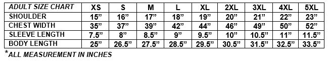 Sizing Chart Adult
